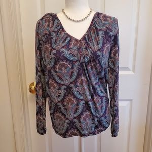 Lucky Brand Paisley Long-Sleeve Blouse